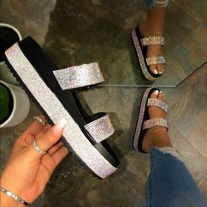 Rhinestone Platform Sandals